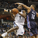 Memphis Grizzlies guard Tony Allen (9) shoots against Charlotte Bobcats guard Gary Neal (12) in the second half of an NBA basketball game Saturday, March 8, 2014, in Memphis, Tenn. The Grizzlies won 111-89 The Associated Press