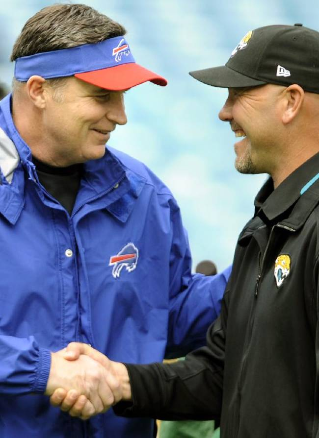 Buffalo Bills head coach Doug Marrone, left, and Jacksonville Jaguars head coach Gus Bradley, right, shake hands before the start of an NFL football game, Sunday, Dec. 15, 2013, in Jacksonville, Fla
