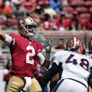 San Francisco 49ers quarterback Blaine Gabbert (2) passes against the Denver Broncos during the first half of an NFL preseason football game in Santa Clara, Calif., Sunday, Aug. 17, 2014 The Associated Press