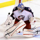 Columbus Blue Jackets goalie Sergei Bobrovsky during the second period of an NHL hockey game against the Dallas Stars, Thursday, April 25, 2013, in Dallas. (AP Photo/Matt Strasen