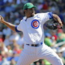 Chicago Cubs pitcher Edwin Jackson throws against the Los Angeles Angels during the first inning of a spring training baseball game, Monday, March 17, 2014, in Mesa, Ariz The Associated Press