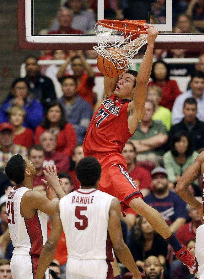 Arizona forward Aaron Gordon (11) dunks against Stanford during the second half of an NCAA college basketball game on Wednesday, Jan. 29, 2014, in Stanford, Calif. Arizona won 60-57