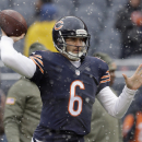 Chicago Bears quarterback Jay Cutler (6) warms up before an NFL football game against the Minnesota Vikings Sunday, Nov. 16, 2014 in Chicago The Associated Press