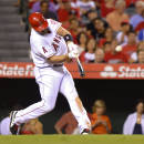 Los Angeles Angels' Albert Pujols hits a two-run home run during the fifth inning of a baseball game against the Texas Rangers, Saturday, Sept. 20, 2014, in Anaheim, Calif. (AP Photo/Mark J. Terrill)
