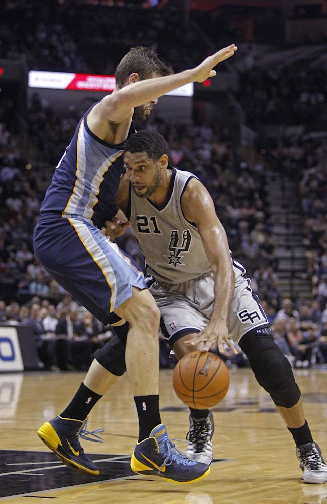 San Antonio Spurs' Tim Duncan (21) drives around the Memphis Grizzlies' Marc Gasol during the first quarter of an NBA basketball game, Sunday, April 6, 2014, in San Antonio