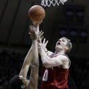 Indiana forward Cody Zeller, right, shoots over Purdue center A.J. Hammons during the first half of an NCAA college basketball game in West Lafayette, Ind., Wednesday, Jan. 30, 2013. (AP Photo/Michael Conroy)