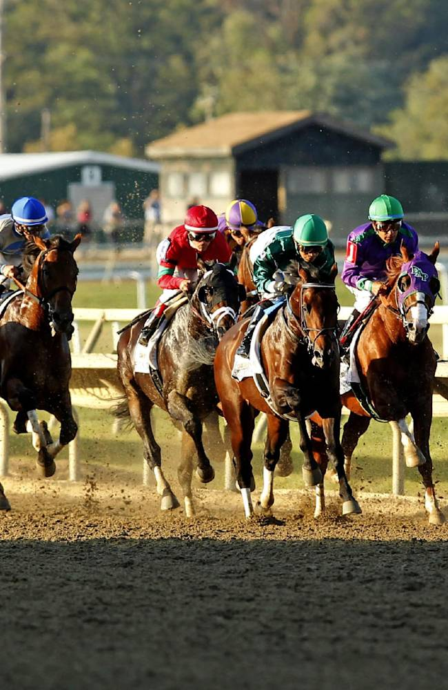 Bayern, right, with jockey Martin Garcia, takes the lead on the way to winning the Pennsylvania Derby horse race Saturday, Sept. 20, 2014, in Bensalem, Pa. California Chrome, second from right, finished sixth