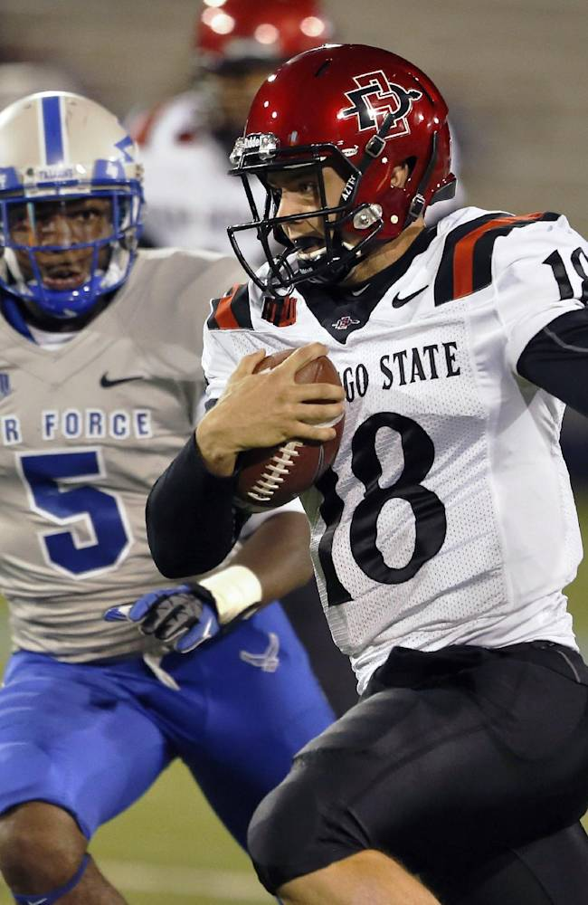 San Diego State quarterback Quinn Kaehler runs with the ball pursued by Air Force defensive back Dexter Walker during the first quarter of an NCAA college football game at the Air Force Academy, Colo. Thursday, Oct. 10, 2013