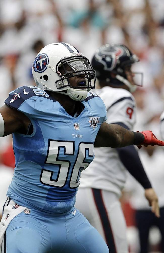 Tennessee Titans' Akeem Ayers (56) signals after Houston Texans' Randy Bullock missed a field goal-attempt during the first quarter of an NFL football game on Sunday, Sept. 15, 2013, in Houston