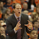 Syracuse assistant coach Mike Hopkins class out to a player in the second half of an NCAA college basketball game against Pittsburgh in Syracuse, N.Y., Saturday, Jan. 18, 2014. Syracuse won 59-54. (AP Photo/Nick Lisi)