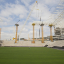 A view of the Arena Corinthians construction site, in Sao Paulo, Brazil, Monday, Aug. 19, 2013. The new stadium will host the opening match of the World Cup in 2014. (AP Photo/Andre Penner)