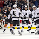 Los Angeles Kings celebrates a goal by Drew Doughty, right, during the first period of an NHL hockey game against the Anaheim Ducks on Wednesday, Nov. 12, 2014, in Anaheim, Calif The Associated Press