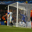 Chelsea's Demba Ba, right, celebrates the opening goal during the Champions League Group E soccer match between Chelsea and Steaua Bucharest at Stamford Bridge Stadium in London Wednesday, Dec. 11, 2013