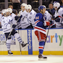 Toronto Maple Leafs' David Clarkson (71) celebrates his goal with teammates as New York Rangers defenseman Matt Hunwick (44) skates away in the second period of an NHL hockey game at Madison Square Garden on Sunday, Oct. 12, 2014, in New York The Associat
