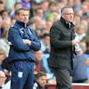 Aston Villa's manager Paul Lambert, right, with newly promoted assistant to the manager Shay Given, take to touchline during the English Premier League soccer match between Aston Villa and Southampton at Villa Park, in Birmingham, England, Saturday, Apri