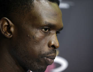 Miami Heat's Luol Deng listens to a question from a member of the media during an NBA basketball media day, Friday, Sept. 26, 2014, in Miami. (AP Photo/Lynne Sladky)