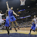 Memphis Grizzlies guard Mike Conley, left, passes to Kosta Koufos (41) as Oklahoma City Thunder's Reggie Jackson (15), Nick Collison (4) and Derek Fisher (6) defend in the first half of Game 3 of an opening-round NBA basketball playoff series Thursday, Ap