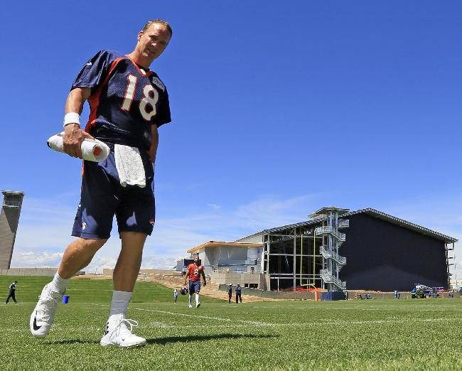 Denver Broncos quarterback Peyton Manning leaves the field following a joint practice between the Denver Broncos and the Houston Texans on Thursday, Aug. 21, 2014, in Englewood, Colo