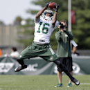 New York Jets wide receiver Jalen Saunders (16) catches a pass at practice during NFL football training camp Friday, July 25, 2014, in Cortland, N.Y. (AP Photo) The Associated Press