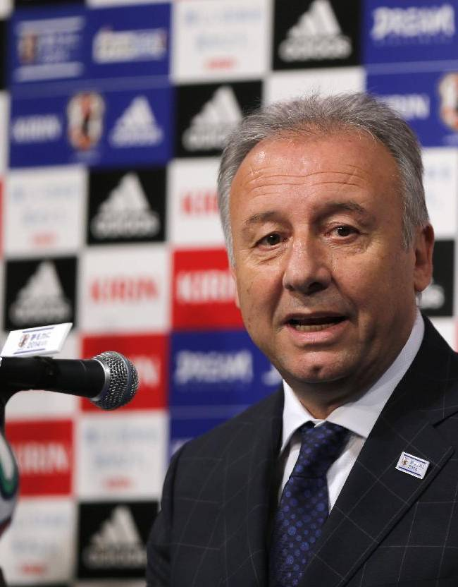 Japan national team coach Alberto Zaccheroni speaks during a press conference as Japan names its World Cup squad in Tokyo, Monday, May 12, 2014. Japan is drawn in a Group C with Ivory Coast, Greece and Colombia at the World Cup in Brazil