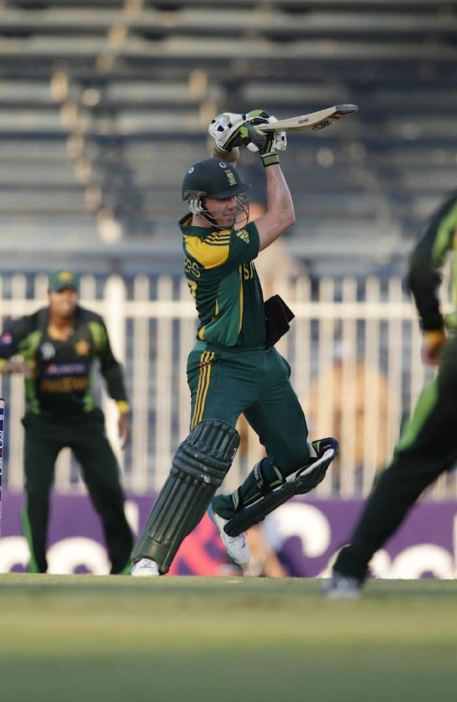 South Africa's AB de Villiers hits a four on his way to score a century during the fifth cricket one-day international match of a five match series between Pakistan and South Africa at Sharjah Cricket Stadium, in Sharjah , United Arab Emirates, Monday, Nov. 11, 2013
