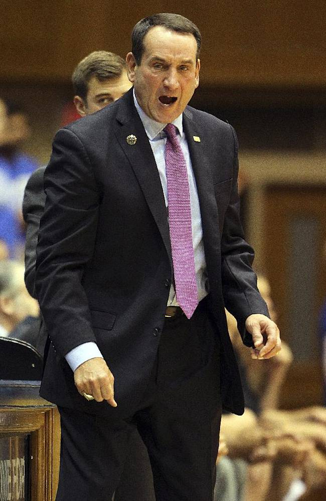 Duke coach Mike Krzyzweski protests a call during the first half of an exhibition NCAA college basketball game against the Bowie State in Durham, N.C., Saturday, Oct. 26, 2013. Duke won 103-67