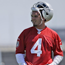 In this May 16, 2014, file photo, Oakland Raiders quarterback Derek Carr takes a break from drills during the team's NFL football rookie camp in Alameda, Calif. Twelve years after his brother David started the season opener as a rookie quarterback in Hou