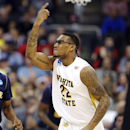 Wichita State's Carl Hall (22) celebrates a basket against La Salle during the first half of a West Regional semifinal in the NCAA college basketball tournament, Thursday, March 28, 2013, in Los Angeles. (AP Photo/Jae C. Hong)