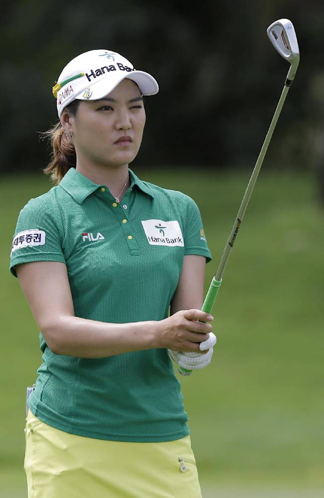 Korea's So Yeon Ryu lines up her shot during the final round at the Malaysian LGPA event in Kuala Lumpur, Sunday, Oct. 13, 2013