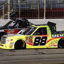 Matt Crafton (88) and Erik Jones (4) battle for position during NASCAR Trucks series auto race at Atlanta Motor Speedway Saturday, Feb. 28, 2015, in Hampton, Ga. (AP Photo/John Amis)