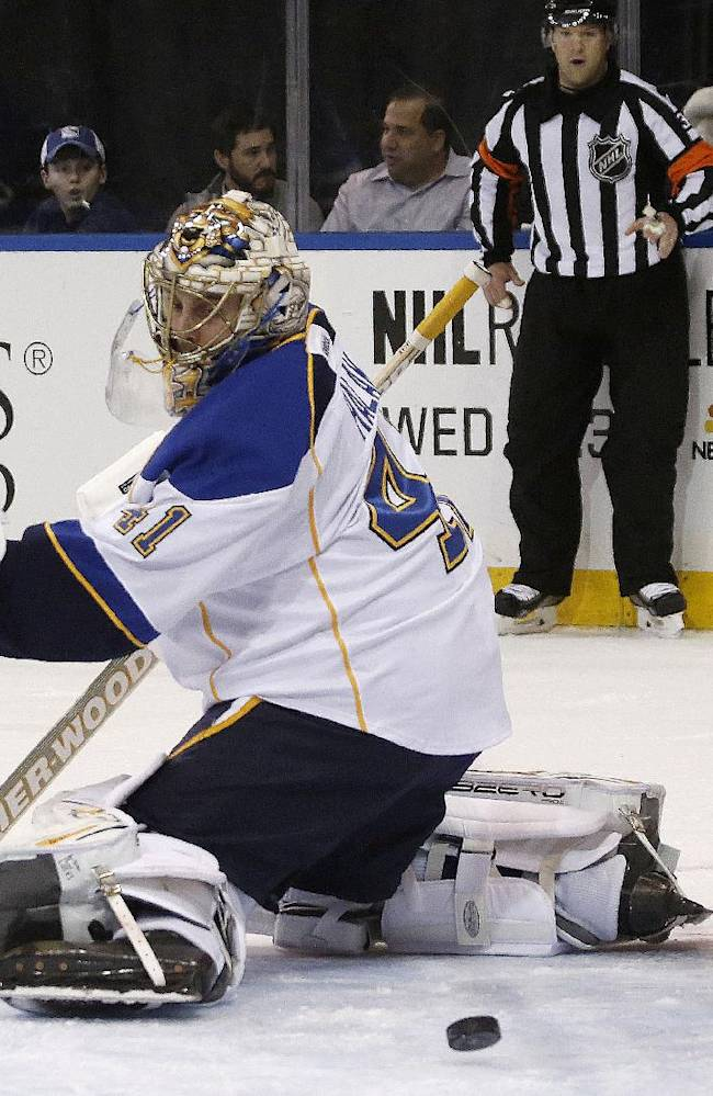 Blues top Rangers with 3rd-period power-play goal