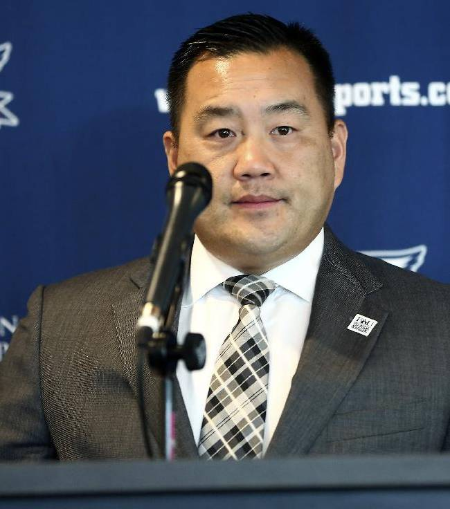 Florida Atlantic athletic director Patrick Chun talks during a news conference about football coach Carl Pelini resigning Wednesday, Oct. 30, 2013, in Boca Raton, Fla. Pelini resigned after acknowledging to school officials that he used illegal drugs. Defensive coordinator Pete Rekstis also resigned after a post-practice meeting with athletic director Chun, who says school officials received word about the matter earlier this week