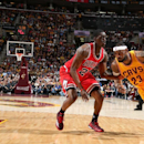CLEVELAND, OH - MAY 6: LeBron James #23 of the Cleveland Cavaliers drives against Tony Snell #20 of the Chicago Bulls in Game Two of the Eastern Conference Semifinals during the 2015 NBA Playoffs on May 6, 2015 at Quicken Loans Arena in Cleveland, Ohio. (Photo by Nathaniel S. Butler/NBAE via Getty Images)