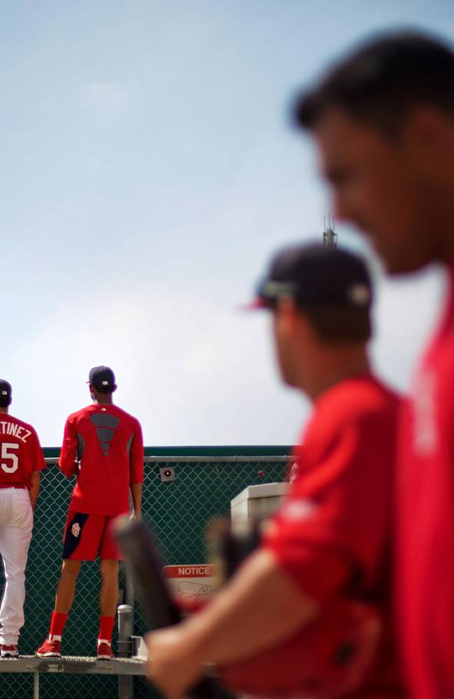 Minor league players with the St. Louis Cardinals watch from behind the outfield wall as the major league club plays against the Minnesota Twins in the eighth inning an exhibition spring training baseball game, Wednesday, March 19, 2014, in Jupiter, Fla