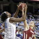 North Carolina's Waltiea Rolle (32) and Boston College's Kerri Shields (10) battle for a rebound during the first half of an NCAA college basketball game at the Atlantic Coast Conference tournament in Greensboro, N.C., Friday, March 8, 2013. (AP Photo/Chuck Burton)