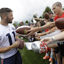 New England Patriots wide receiver Julian Edelman, left, signs autographs following an NFL football training camp practice at Gillette Stadium, Thursday, July 24, 2014, in Foxborough, Mass. (AP Photo) The Associated Press