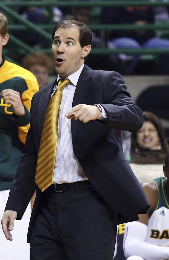 Baylor coach Scott Drew reacts to a call during the second half of an NCAA college basketball game against Savannah State, Friday, Jan. 3, 2014, in Waco, Texas