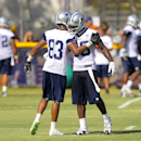Dallas Cowboys wide receiver Terrance Williams (83) and wide receiver Dez Bryant, right, congratulate each other during NFL football training camp, Friday, July 25, 2014, in Oxnard, Calif The Associated Press