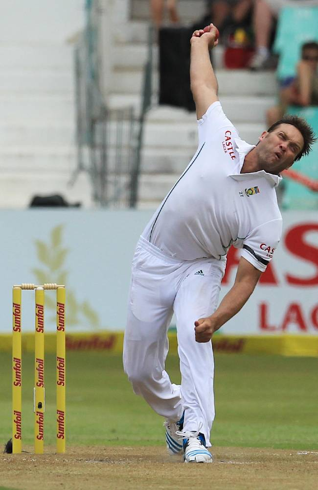 South Africa's player Jacques Kallis bowls during first day of their cricket test match against India at Kingsmead stadium, Durban, South Africa, Thursday, Dec. 26, 2013