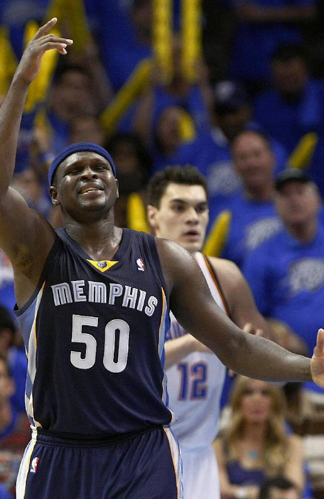 Memphis Grizzlies forward Zach Randolph (50) reacts to a play during the fourth quarter of Game 1 of the opening-round NBA basketball playoff series against Oklahoma City Thunder in Oklahoma City on Saturday, April 19, 2014. Oklahoma City won 100-86