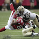 Atlanta Falcons tight end Levine Toilolo (80) is hit by New Orleans Saints inside linebacker David Hawthorne (57) during the first half of an NFL football game, Sunday, Sept. 7, 2014, in Atlanta The Associated Press
