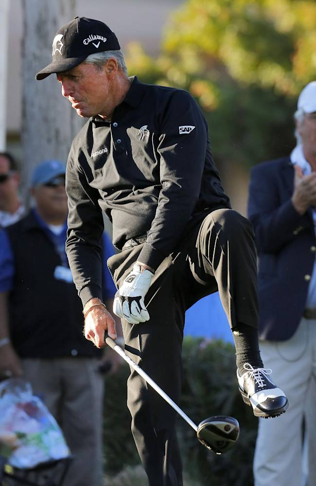 World Golf Hall of Famer Gary Player does a leg kick after his ceremonial first tee shot to start the first round of the Humana Challenge PGA golf tournament on the Palmer Private course at PGA West, Thursday, Jan. 16, 2014, in La Quinta, Calif