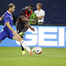 IMAGE DISTRIBUTED FOR INTERNATIONAL CHAMPIONS CUP - Branislav Ivanovic, left, attempts to block a pass during the International Champions Cup soccer match between Chelsea FC and AC Milan on Wednesday, Aug. 3, 2016 at US Bank Stadium in Minneapolis. (Andy