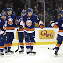New York Islanders center Brock Nelson (29) celebrates his goal against the Ottawa Senators with right wing Kyle Okposo (21), Matt Martin (17), defenseman Nick Leddy (2) and defenseman Matt Donovan (46) in the second period of an NHL hockey game at Nassa