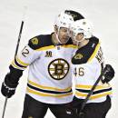 Boston Bruins' Jarome Iginla (12) and David Krejci (46) celebrate a goal against the Edmonton Oilers during third period NHL hockey action in Edmonton, Alberta, on Thursday Dec. 12, 2013. (AP Photo/The Canadian Press, Jason Franson)