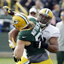 Green Bay Packers' Derek Sherrod tries to block Clay Matthews during NFL football training camp Monday, July 28, 2014, in Green Bay, Wis The Associated Press