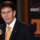 Tennessee Athletics Director Dave Hart speaks during an NCAA college football new conference on Friday, Dec. 7, 2012, in Knoxville, Tenn. The Vols' introduced Butch Jones on Friday as its successor to Derek Dooley, who was fired Nov. 18 after going 15-21 in three seasons. (AP Photo/Wade Payne)