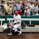 Miami Marlins catcher Jarrod Saltalamacchia signs autographs for fans before the start of an exhibition spring training baseball game against the Boston Red Sox Thursday, March 6, 2014, in Jupiter, Fla The Associated Press