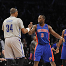 Detroit Pistons' Rodney Stuckey (3) congratulates Brooklyn Nets' Paul Pierce (34) after the Nets defeated the Pistons 116-104 in an NBA basketball game on Friday, April 4, 2014, in New York The Associated Press