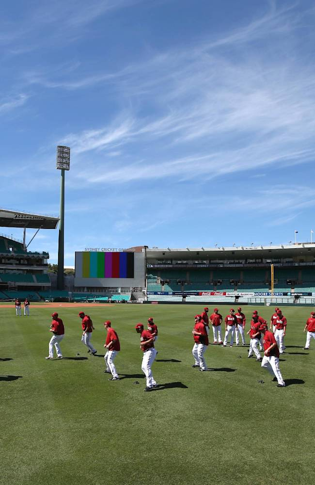 The Arizona Diamondbacks train at the Sydney Cricket Ground in Sydney, Tuesday, March 18, 2014. The Major League Baseball season-opening two-game series between the Los Angeles Dodgers and Arizona Diamondbacks in Sydney will be played this weekend